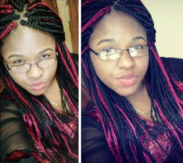 Two Tone Box Braids with Hair