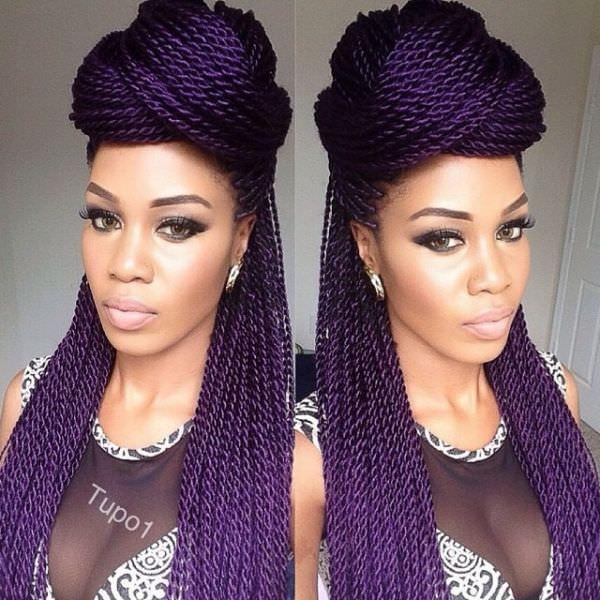 purple braid Box Braids With Purple Highlights
