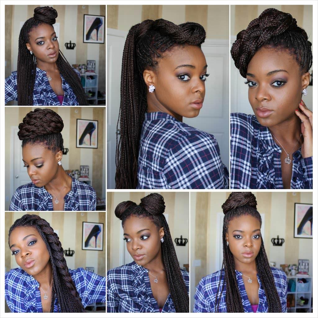 Individual Braids Updo Hairstyles For Black Women Styling Box Braids 7 W...