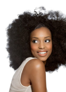 Woman with long afro hair