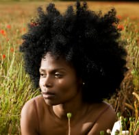 Woman with 4a afro hair