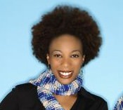 Woman with 4b afro holding a scarf