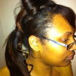 Hair bow detail with ponytail