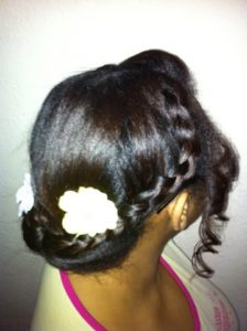 Bun with braid detail