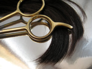 Hair shears, comb and lock of hair