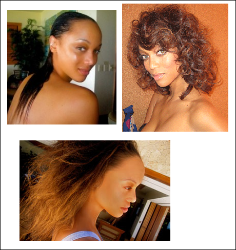 Tyra Banks shows off her real hair