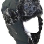 Black Weatherproof Warm Nylon Faux Fur Pilot Aviator hat