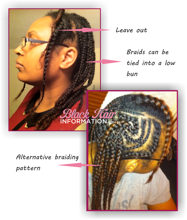 Hiding short hair under a wig braiding pattern