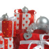 Red and white christmas gifts hearts