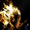 Woman with hair on fire