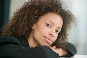 African american woman curly perm