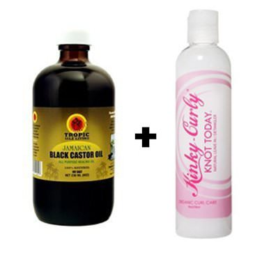 Tropic Isle Jamaican Black Castor Oil 8 Oz and Kinky Curly Knot-today