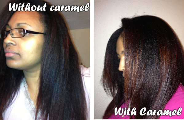 Blown out hair with and without caramel treatment