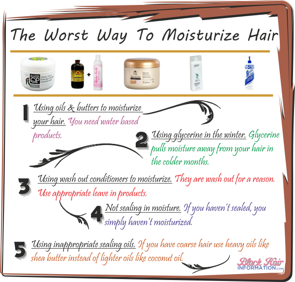 The worst way to moisturize hair infographic