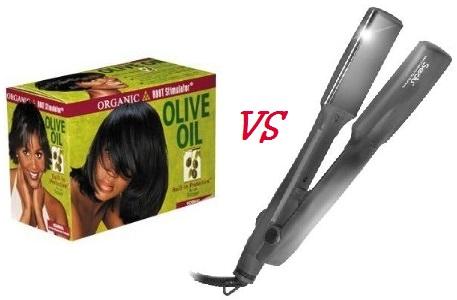 Relaxer vs flat iron