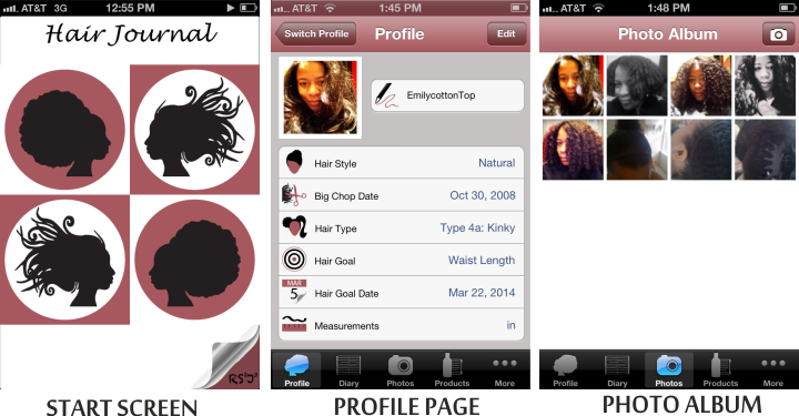 Hair journal app start screen profile page and photo album