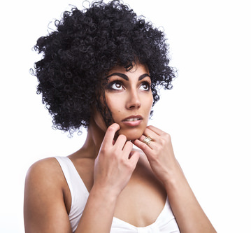 Beautiful African American woman with a big curly afro