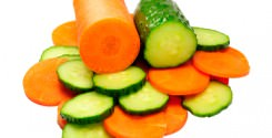 Carrots and cucumbers sliced