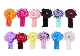 Daisy Flower Clip Crocheted Baby Headband