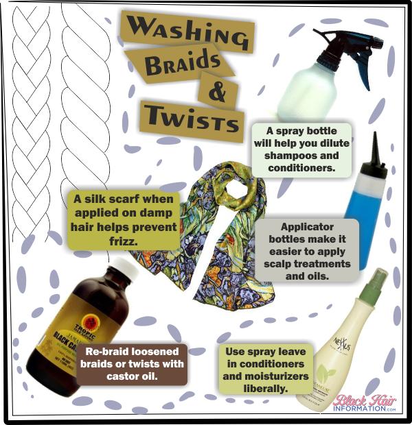 Washing braids and twists