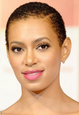 Solange Knowles with Teeny Weeny Afro TWA and off side part