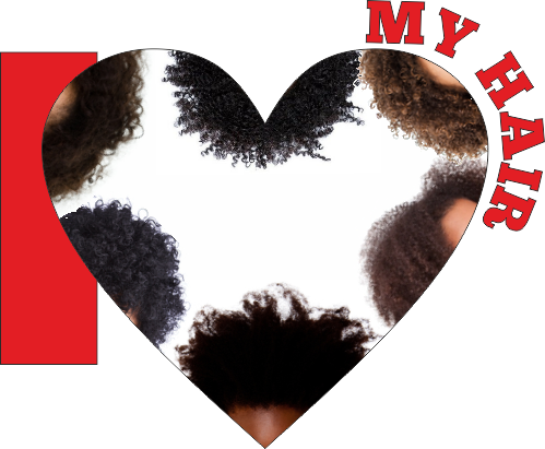 I love my hair graphic with lots of natural hair images