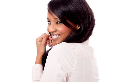 African american woman with shiny straighttened hair smiling