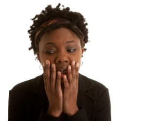 Worried looking black woman
