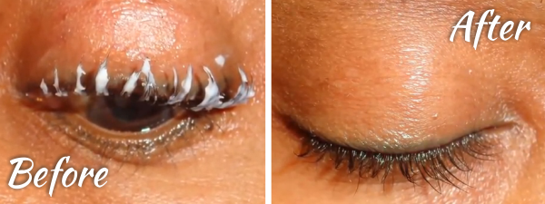 Putting relaxer in eyelashes