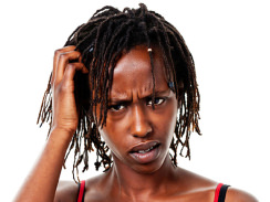 Confused woman with dreadlocks