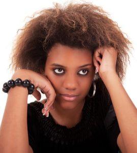 African American woman looking worried