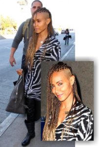 Jada Pinkett Smith With Shaved Side And Blonde Braids