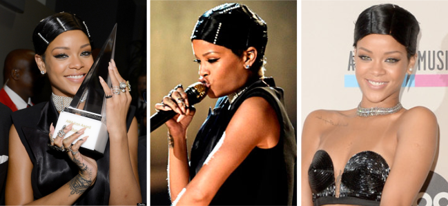 Rihanna American Music Awards Doobie Wrap Hairstyle