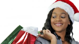 Black woman with Christmas shopping bags