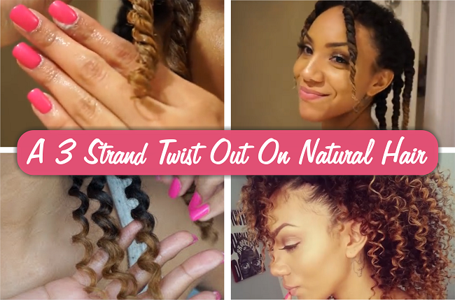 A 3 strand twist out on natural hair
