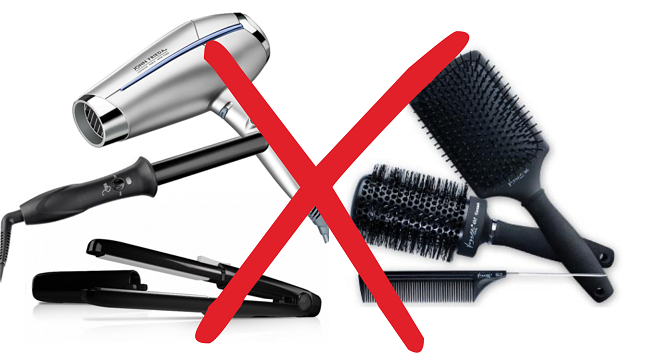 No heat tools combs or brushes