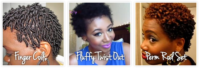 finger coils fluffy twist out and perm rod set on twa natural hair