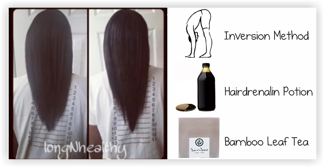 2 Inches Of Hair Growth In 5 Days - inversion method, hairdrenalin potion bamboo leaf tea