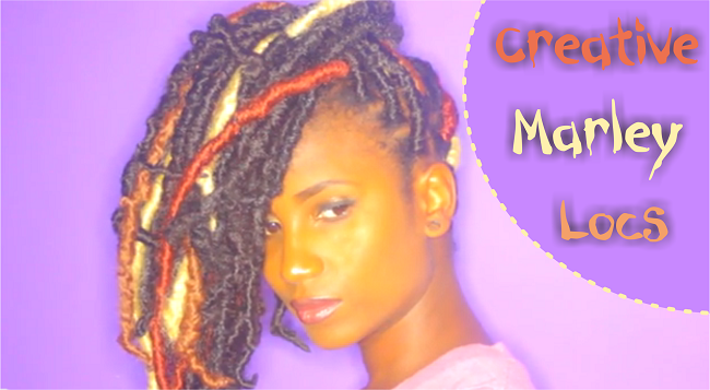 Creative marley locs on natural hair
