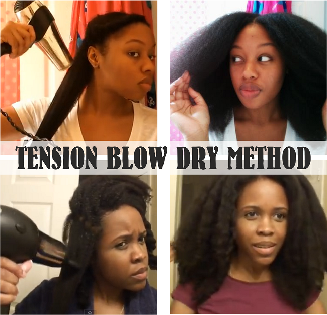 Tension blow dry method