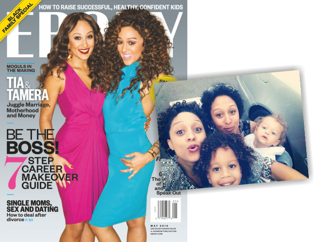Tia and Tamera Cover Ebony Magazine and Take a cute Family Selfie
