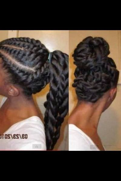 Flat twists ponytail and updo - Black Hair Information