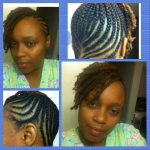 Cornrow and twists updo from Outrageous Beauty salon.