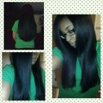 Rielle's flat ironed 3c 4a hair – her motto is to chase health over length.