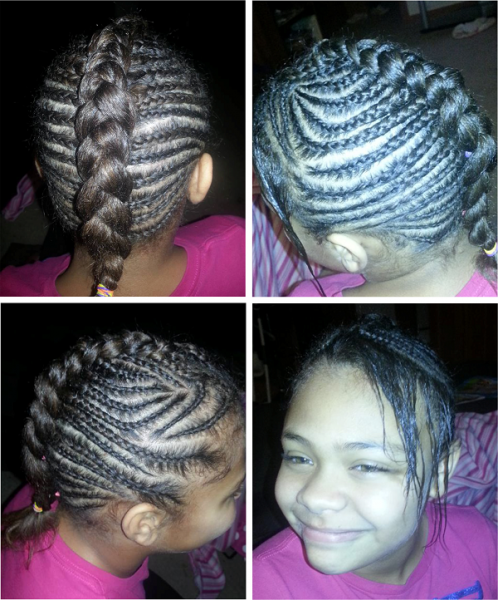 Cornrow style on 10 year old - styled by Elizabeth who is self ...
