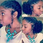 French braid side puff