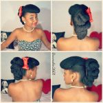 Natural hair retro updo.