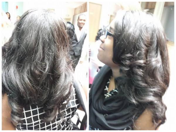 Jaylen's natural hair straightened shared by her friend Aliyah