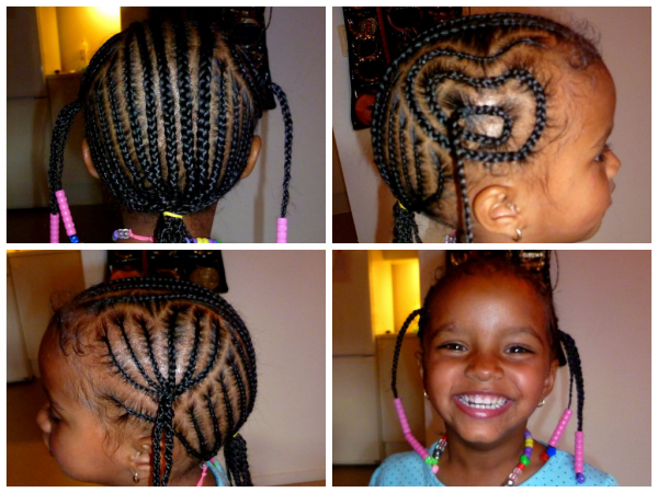 Mom Catherine always braids her hair up every 1-2 weeks and she gets to choose the pattern herself They always use pure shea butter from Gambia when braiding