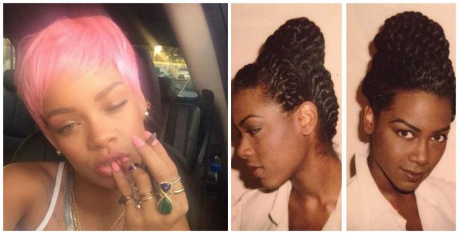 Rihanna rocks pink hair and kenya moore throwback goddess briad